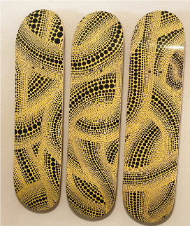 Skateboard Kasuma Yellow Tree Triptych 2010 31x24 Other - Yayoi Kusama