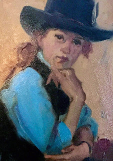 Cowgirl Enjoys Wine 2002 21x24 Original Painting by Linda Kyser Smith