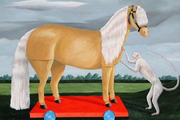 Palomino Pony 72x86 Super Huge Original Painting - Cheryl Laemmle