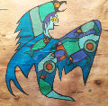 Untitled On Birchbark 1985 29x29 Original Painting - John Laford