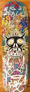 Tribute To Keith Haring Skate Board Deck 2014 8x32 Original Painting -  LAII / Little Angel