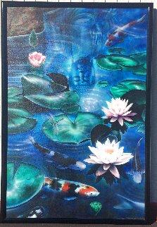 Koi Pond 1984 74x50 Super Huge Original Painting - Terry Lamb
