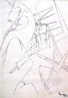 Untitled Surrealist Drawing 1954 35x26 Drawing - Wifredo Lam