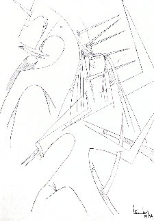 Untitled Surrealist Drawing 1954 35x26 Drawing - Wifredo Lam