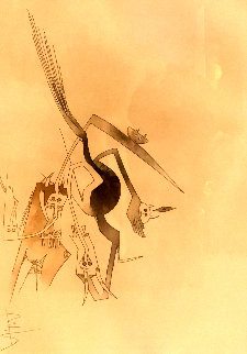 René Char. Contre Une Maison Sèchej 1975 33x39 Watercolor - Wifredo Lam