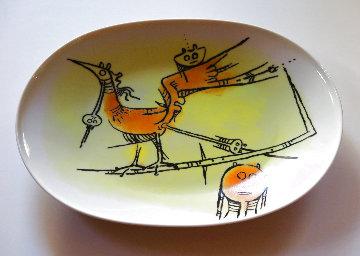 Ceramica Di Albisola Porcelain Platter 1970 15x11 Sculpture - Wifredo Lam