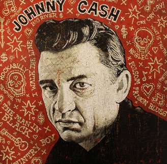 Johnny Cash 17x17 Original Painting - Jon Langford