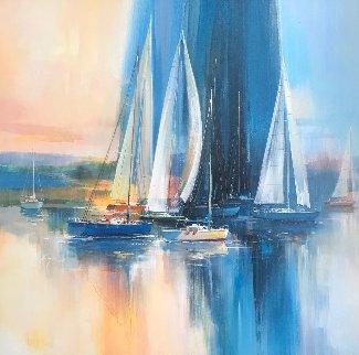 Afternoon Sail 42x42 Huge Original Painting - Wilfred Lang