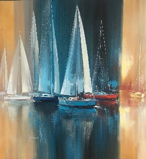 Out For a Sail 42x42 Original Painting - Wilfred Lang