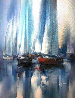 Untitled (Sailboats) 51x40 Original Painting - Wilfred Lang