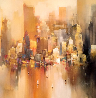 New York City 41x41 Huge Original Painting - Wilfred Lang
