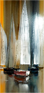 Sailboats 48x24 Original Painting - Wilfred Lang
