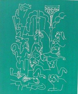 La Femme Aux Chiens 1969 Limited Edition Print - Charles Lapicque
