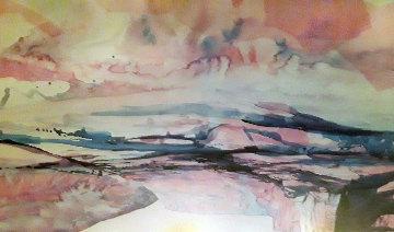 Untitled Watercolor 38x46 Original Painting - Hal Larsen