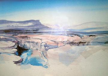 Untitled Mountain Landscape 1985 36x49 Super Huge Original Painting - Hal Larsen
