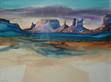 Evening Cloud Watch Watercolor 30x 38 Watercolor - Hal Larsen