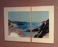 Beach Diptych 1985 29x27 Original Painting by Hal Larsen - 1