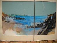 Beach Diptych 1985 29x27 Original Painting by Hal Larsen - 3