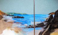 Beach Diptych 1985 29x27 Original Painting by Hal Larsen - 0