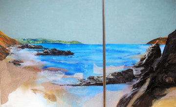 Beach Diptych 1985 29x27 Original Painting by Hal Larsen