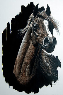Untitled Horse 1980 20x16 Original Painting - Judy Larson
