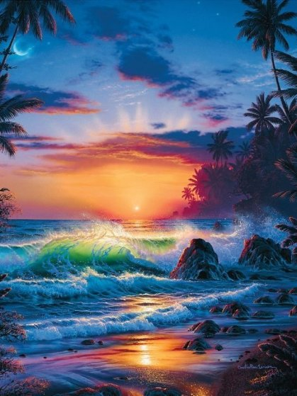 Island Sunrise 1996  Embellished  Limited Edition Print by Christian Riese Lassen