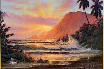 Sunset 1981 22x18 Original Painting - Christian Riese Lassen