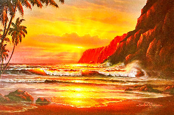 Seascape 1980 33x45 Huge Original Painting - Christian Riese Lassen