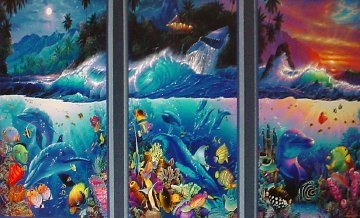 Beyond the Reef Triptych Ap 1998 with Diamonds Limited Edition Print by Christian Riese Lassen