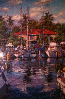 Lahaina Reflections, Maui Embellished 1981 Limited Edition Print by Christian Riese Lassen