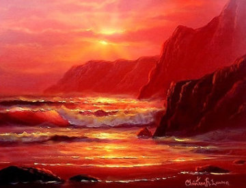 Island Sunset 2000 24x27 Original Painting - Christian Riese Lassen