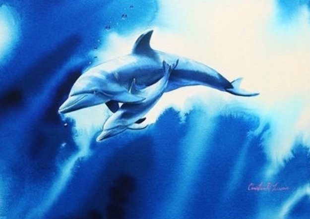 Endearing Love Watercolor  2000 28x34 Watercolor by Christian Riese Lassen