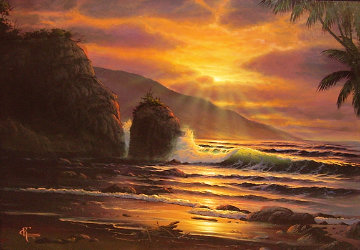 Untitled (Maui Sunset) 1981 32x38 Original Painting - Christian Riese Lassen