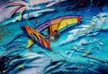 Impact II 1988 47x42 Original Painting - Christian Riese Lassen