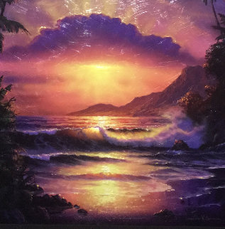 Japan Sunset Unique 2005 40x52 Original Painting - Christian Riese Lassen