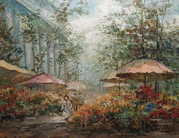 Flower Market La Madeleine 1986 24x40 Original Painting - Pierre Latour