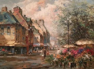 Flower Market 37x47 Original Painting - Pierre Latour