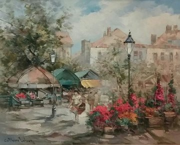 Flower Market 31x37 Original Painting - Pierre Latour