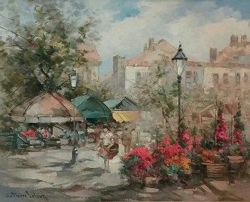 Flower Market 31x37 Original Painting - Pierre Latour
