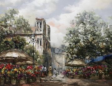 Untitled Cityscape 34x44 Original Painting by Pierre Latour