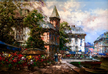 Untitled French Cityscape 43x56  Huge Original Painting - Pierre Latour