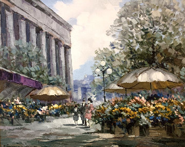 Flower Market 1990 32x40 Original Painting - Pierre Latour
