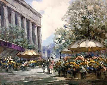 Flower Market 1990 32x40 Huge Original Painting - Pierre Latour