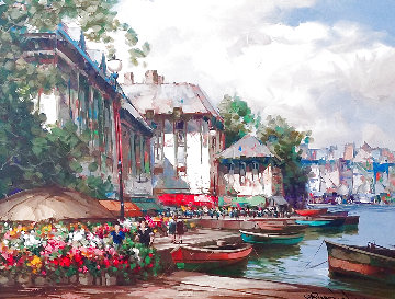 Festival on the Canal 1997 38x48 Original Painting - Pierre Latour