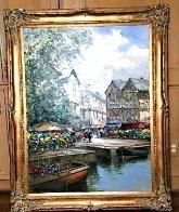 Flower Market Barge 59x46 Huge Original Painting by Pierre Latour - 1