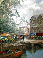 Flower Market Barge 59x46 Huge Original Painting by Pierre Latour - 0