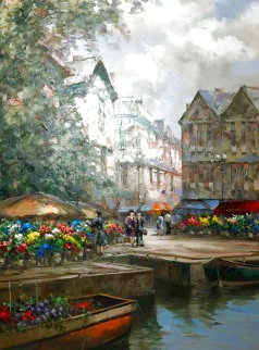 Flower Market Barge 59x46 Super Huge Original Painting - Pierre Latour