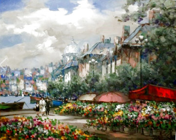 Flower Market 40x51 Super Huge Original Painting - Pierre Latour