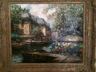 French Landscape 1990 36x26 Original Painting by Pierre Latour - 1