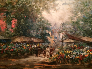 Flower Market 3 1990 24x36 Original Painting - Pierre Latour
